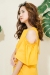 露肩荷葉袖棉麻洋裝(橙黃) Cold Shoulder Ruffle Sleeves Yellow Dress