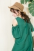露肩荷葉袖棉麻洋裝 Cold Shoulder Ruffle Sleeves Green Dress